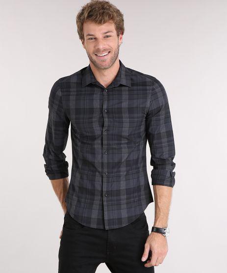 Camisa-Masculina-Slim-Xadrez-Manga-Longa-Chumbo-8856170-Chumbo_1