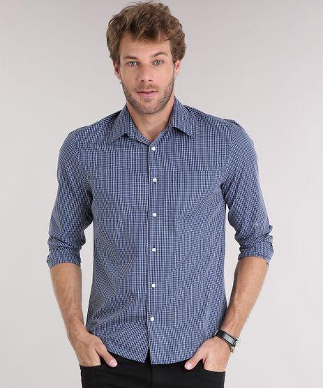 Camisa-Masculina-Comfort-Xadrez-Manga-Longa-com-Bolso-Azul-Marinho-8826552-Azul_Marinho_1