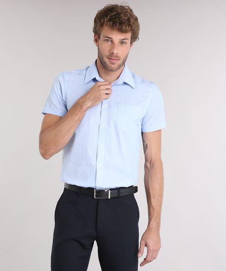 Camisa-Masculina-Comfort-Listrada-Manga-Curta-com-Bolso-Azul-8856441-Azul_1