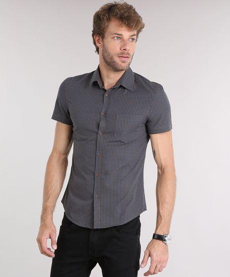 Camisa-Masculina-Slim-Xadrez-Manga-Curta-com-Bolso-Kaki-8853178-Kaki_1