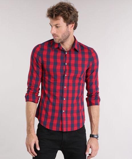 Camisa-Masculina-Slim-Xadrez-Manga-Longa-Vermelha-8897721-Vermelho_1