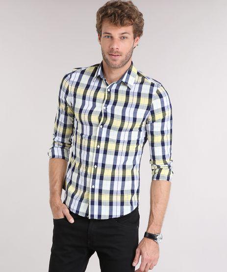 Camisa-Masculina-Slim-Xadrez-Manga-Longa-Amarelo-Claro-8897346-Amarelo_Claro_1