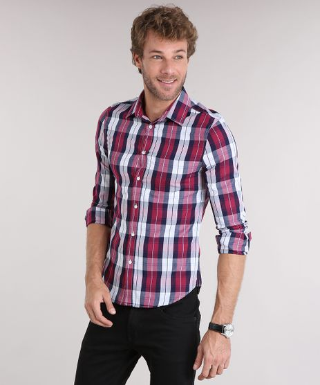 Camisa-Masculina-Slim-Xadrez-Manga-Longa-Vinho-8897334-Vinho_1
