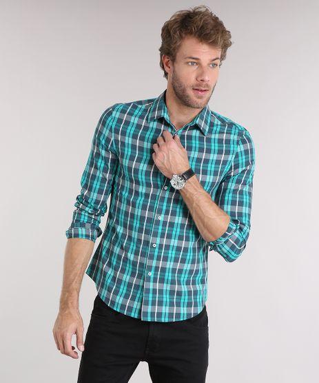 Camisa-Masculina-Slim-Xadrez-Manga-Longa-Verde-Agua-8894573-Verde_Agua_1