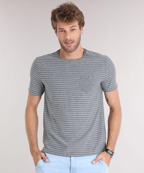 Camiseta-Masculina-Listrada-com-Bolso-Manga-Curta-Gola-Careca-Cinza-Mescla-9028747-Cinza_Mescla_1