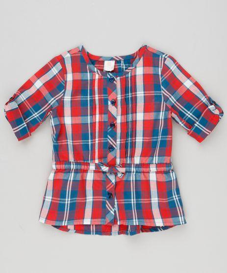 Camisa-Infantil-Xadrez-com-Laco-Manga-Longa-Decote-Redondo-em-Algodao---Sustentavel-Vermelha-8949665-Vermelho_1