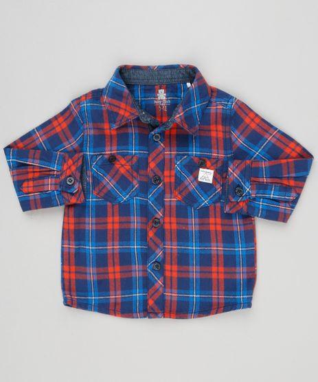 Camisa-Infantil-Xadrez-em-Flanela-Manga-Longa-com-Bolsos-em-Algodao---Sustentavel-Azul-Marinho-8949663-Azul_Marinho_1
