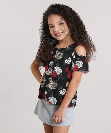 Blusa-Infantil-Open-Shoulder-Estampa-Floral-Manga-Curta-Decote-Redondo-Preta-9140683-Preto_1