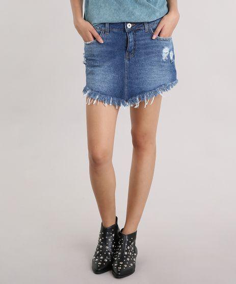 Saia-Jeans-Feminina-Destroyed-Curta-Assimetrica-Barra-Desfiada-Azul-Medio-9102251-Azul_Medio_1