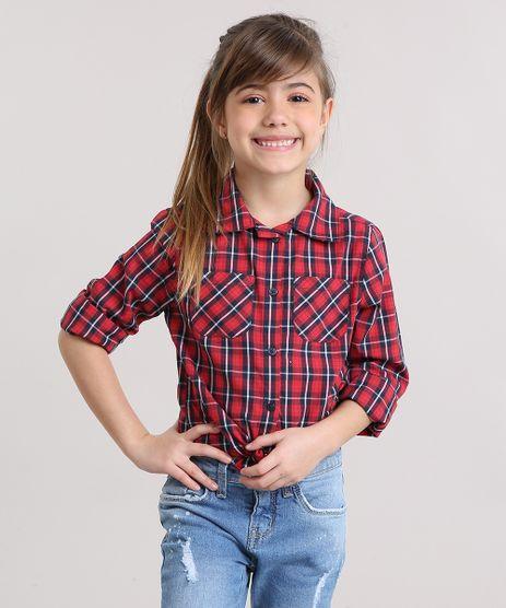 Camisa-Infantil-Xadrez-com-Bolsos-Manga-Longa-Vermelha-8912640-Vermelho_1