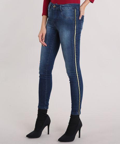 Calca-Jegging-Feminina-Sawary-Cintura-Alta-com-Vies-de-Lurex-Azul-Escuro-9162720-Azul_Escuro_1