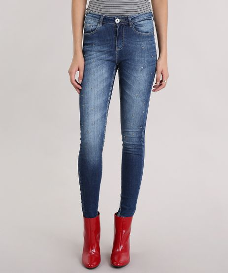 Calca-Jeans-Feminina-Super-Skinny-com-Ilhos-Azul-Escuro-9123053-Azul_Escuro_1