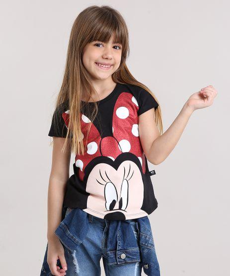 Blusa-Infantil-Minnie-com-Glitter-Manga-Curta-Decote-Redondo-em-Algodao---Sustentavel-Preta-9140987-Preto_1