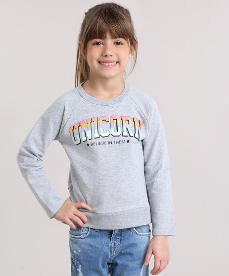 Blusao-Infantil--Unicorn--com-Glitter-em-Moletom-Manga-Longa-Decote-Redondo-em-Algodao---Sustentavel-Cinza-Mescla-9140696-Cinza_Mescla_1