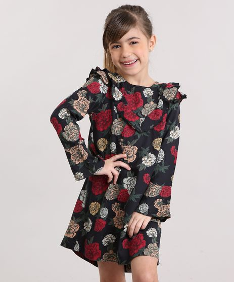 Vestido-Infantil-Floral-com--Babado-Manga-Longa-Sino-e-Decote-Redondo-Preto-8846646-Preto_1