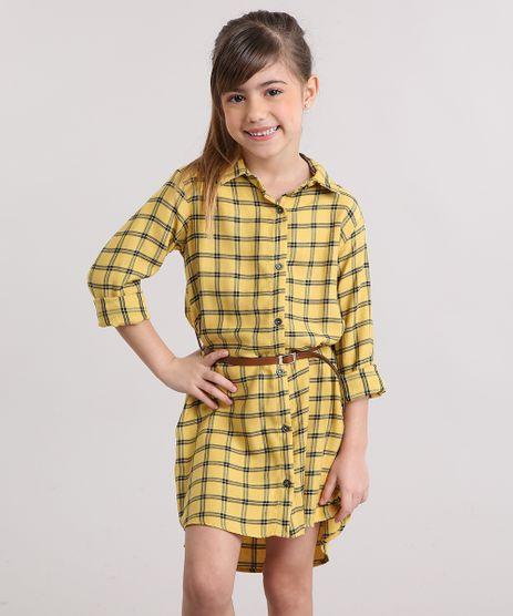 Vestido-Chemise-Infantil-Xadrez-com-Cinto-Amarelo-9170667-Amarelo_1