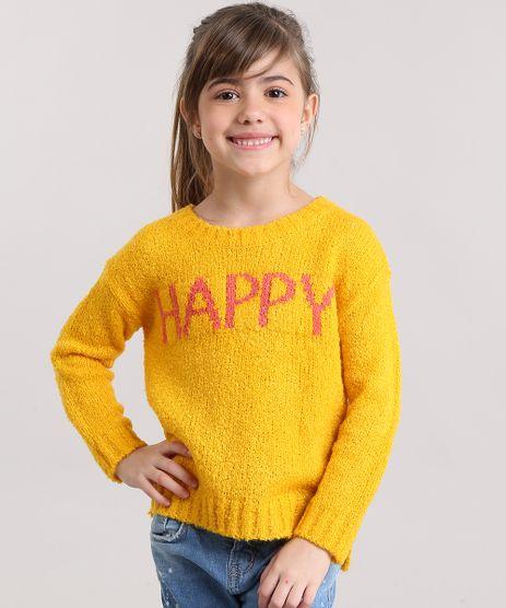 Sueter-Infantil--Harry--em-Trico-Felpudo-Manga-Longa-Decote-Redondo-Amarelo-8862624-Amarelo_1