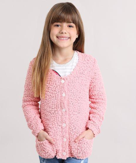 Cardigan-Infantil-em-Trico-Texturizado-Decote-Redondo-Rosa-8862485-Rosa_1