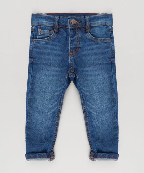 Calca-Jeans-Infantil-com-Retalho-Xadrez-em-Algodao---Sustentavel-Azul-Escuro-9168780-Azul_Escuro_1