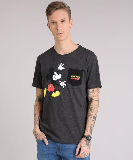Camiseta-Masculina-Mickey-com-Bolso-Manga-Curta-Gola-Careca-Cinza-Mescla-Escuro-9081678-Cinza_Mescla_Escuro_1