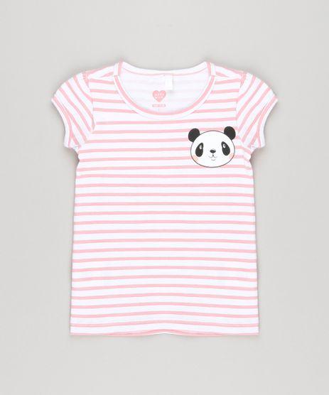 Blusa-Infantil-Listrada-com-Panda-Manga-Curta-Decote-Redondo-em-Algodao---Sustentavel-Off-White-9034975-Off_White_1