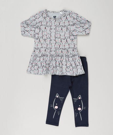 Conjunto-Infantil-de-Vestido-Estampado-com-Gatinhos-Cinza-Manga-Longa---Calca-Legging-com-Estampa-em-Algodao---Sustentavel-Azul-Marinho-9155703-Azul_Marinho_1
