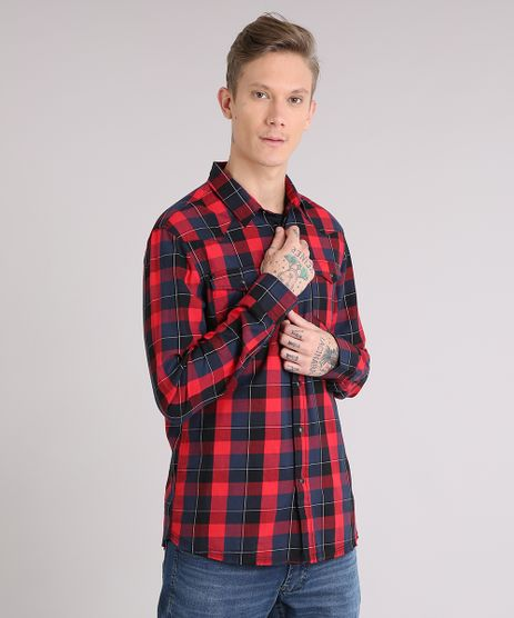 Camisa-Masculina-Xadrez-com-Bolsos-Manga-Longa-Vermelha-8886257-Vermelho_1