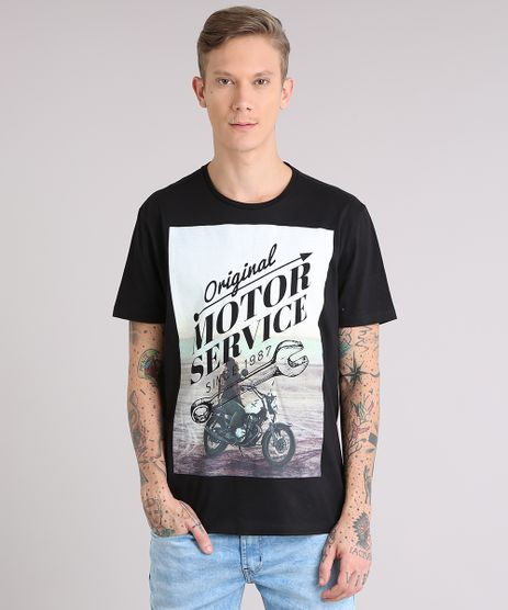 Camiseta-Masculina--Motor-Service--Manga-Curta-Gola-Careca-Preta-9081147-Preto_1