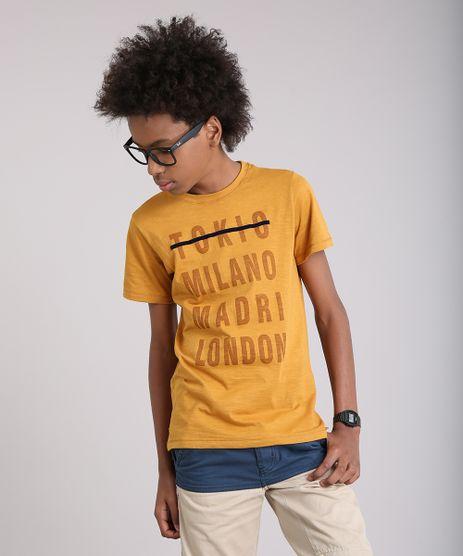 Camiseta-Infantil--Tokio-Milano-Madri-London--Manga-Curta-Gola-Careca-em-Algodao---Sustentavel-Mostarda-9141670-Mostarda_1