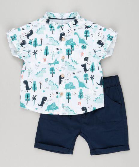 Conjunto-infantil-de-Camisa-Estampada-de-Dinossauros-Manga-Curta-Off-White---Bermuda-em-Algodao---Sustentavel-Azul-Marinho-8950643-Azul_Marinho_1
