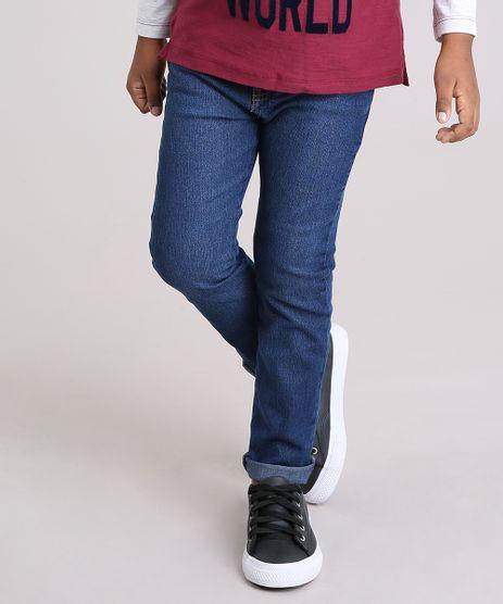 Calca-Jeans-Infantil-com-Retalho-Xadrez-em-Algodao---Sustentavel-Azul-Escuro-9169396-Azul_Escuro_1