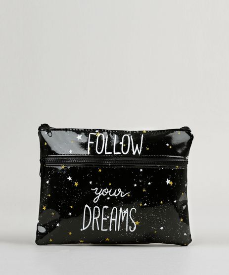 Necessaire-Feminina-Estampada--Follow-Your-Dreams--Preta-9131710-Preto_1