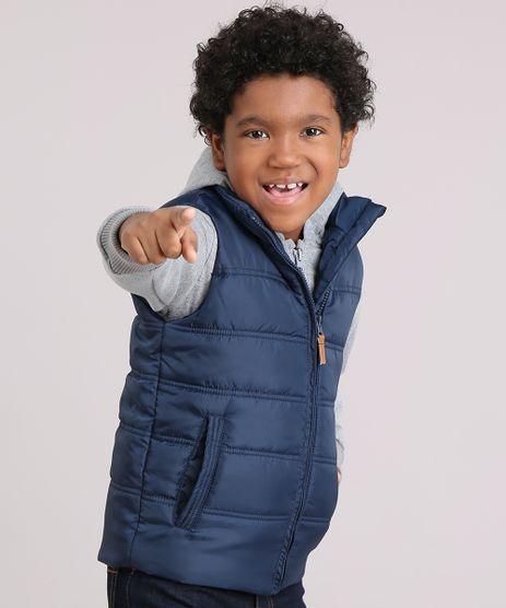Blusao-Infantil-em-Moletom-com-Capuz-Cinza-Mescla---Colete-Puffer-Azul-Marinho-8448930-Azul_Marinho_1