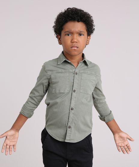 Camisa-Infantil-em-Sarja-com-Estampa-de-Tigre-Bolso-Manga-Longa--Verde-Militar-9046936-Verde_Militar_1
