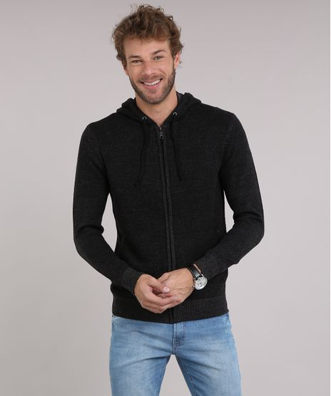 Blusao-Masculino-em-Trico-com-Capuz-e-Bolsos-. Moda Masculina 293ee94c7c1