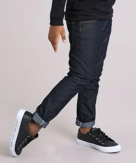 Calca-Jeans-Infantil-com-Retalho-Xadrez-em-Algodao---Sustentavel-Azul-Escuro-9169395-Azul_Escuro_1
