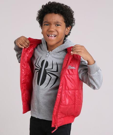 Blusao-Infantil-Homem-Aranha-em-Moletom-com-Capuz-Cinza-Mescla---Colete-Puffer-Vermelho-8448946-Vermelho_1