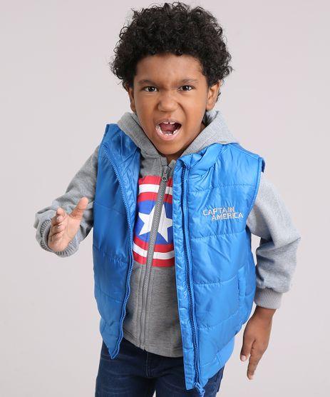 Blusao-Infantil-Capitao-America-em-Moletom-com-Capuz-Cinza-Mescla---Colete-Puffer-Azul-8448598-Azul_1