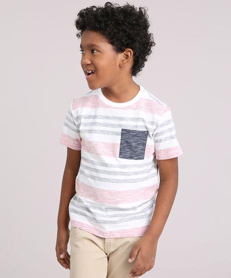 Camiseta-Infantil-Listrada-com-Bolso-Manga-Curta-Gola-Careca-em-Algodao---Sustentavel-Off-White-9141722-Off_White_1