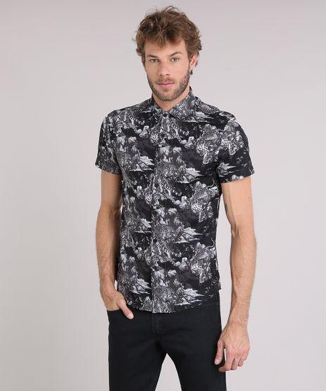 Camisa-Masculina-Slim-Estampada-de-Tigres-Manga-Curta-Preta-9114925-Preto_1