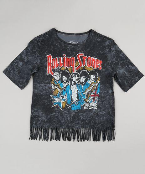 Blusa-Infantil--Rolling-Stones--Manga-Curta-Decote-Redondo-com-Franjas-de-Algodao---Sustentavel-Chumbo-9151544-Chumbo_1