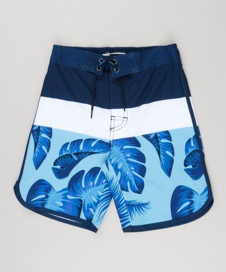 Bermuda-Surf-Infantil-Estampada-de-Folhagem-com-Velcro-e-Cordao-Azul-Marinho-8864942-Azul_Marinho_1
