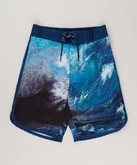 Bermuda-Surf-Infantil-Estampada-de-Ondas-com-Velcro-e-Cordao-Azul-Marinho-8862201-Azul_Marinho_1