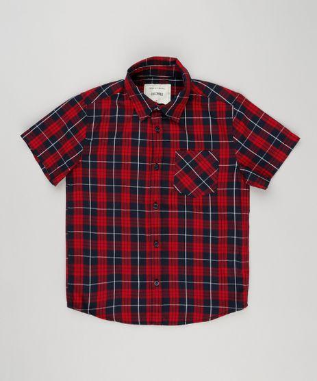 Camisa-Infantil-Xadrez-Manga-Curta-com-Bolso-Vermelha-8439929-Vermelho_1