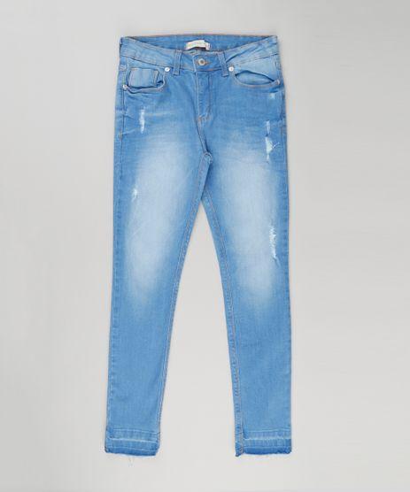 Calca-Jeans-Infantil-com-Puidos-e-Barra-Desfiada-em-Algodao---Sustentavel-Azul-Claro-9158765-Azul_Claro_1