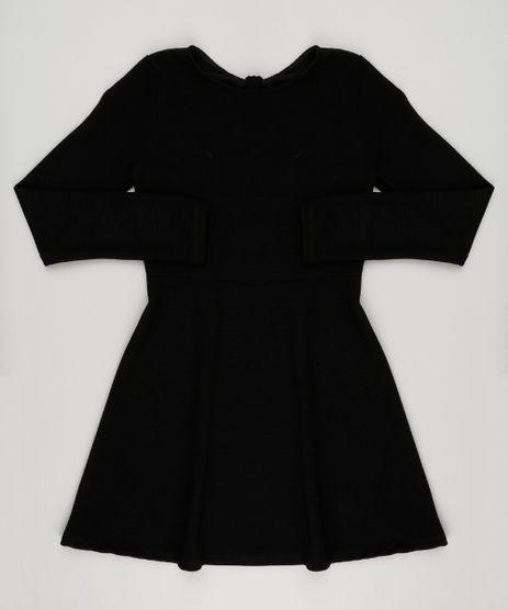 Vestido-Infantil-Canelado-Manga-Longa-com-Abertura-Preto-9140695-Preto_1