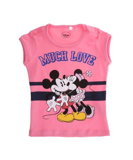 Blusa com Estampa Minnie e Mickey Menina Rosa