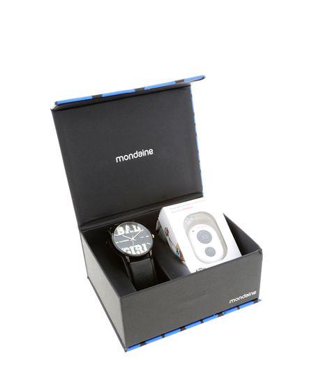 Kit Relógio + Disparador de Selfie Mondaine Feminino Analógico 76432LPMVPH1K -  Preto