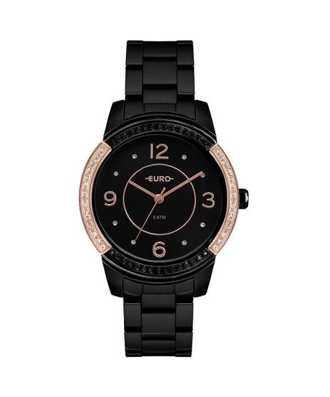 Relógio Euro Feminino Color Mix Glam Preto EU2036YMQ 4P f969533383