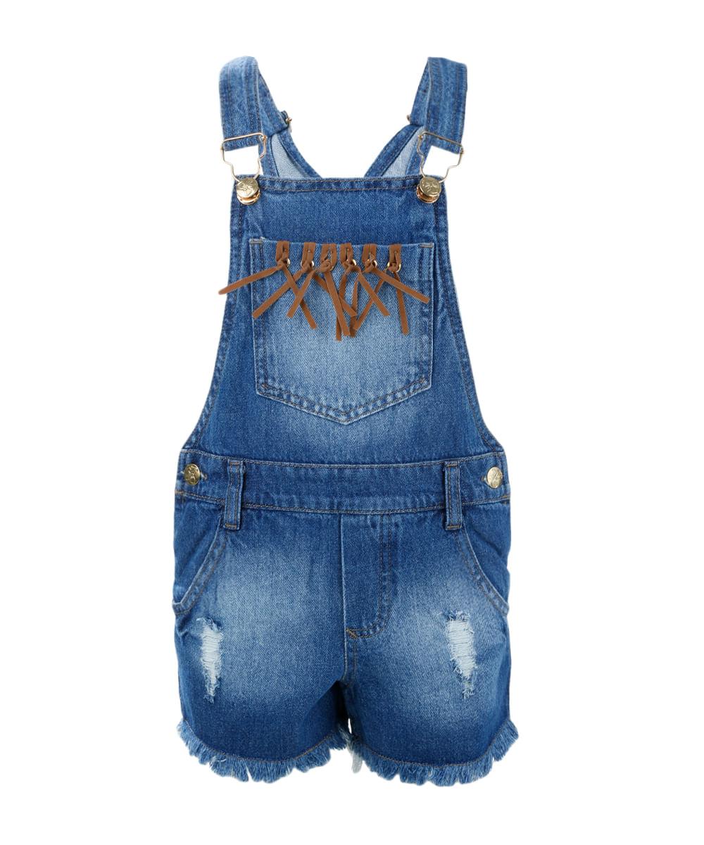jardineira em jeans menina azul claro cea